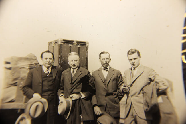 Horace H. Burrell (second from right) stands with Samuel Yellin, Milton B. Medary and his son, Edward Burrell