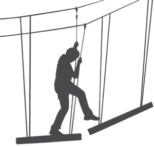 silhouette of ropes course participant